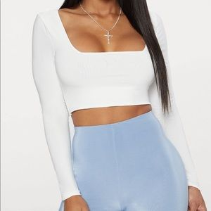 Missguided Square Neck Long Sleeve Crop Top